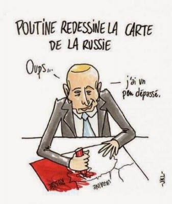 "Perhaps not accidentally Charlie Hebdo was very anti-Russian. This cartoon accuses Putin of ""redrawing the map of Russia"" to grab a big chunk of Ukraine."