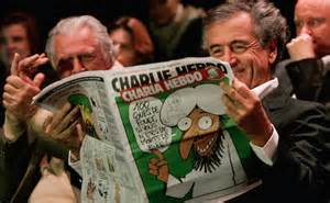 The great phony and intellectual poseur Bernard Henri-Levi enjoying Charlie Hebdo.