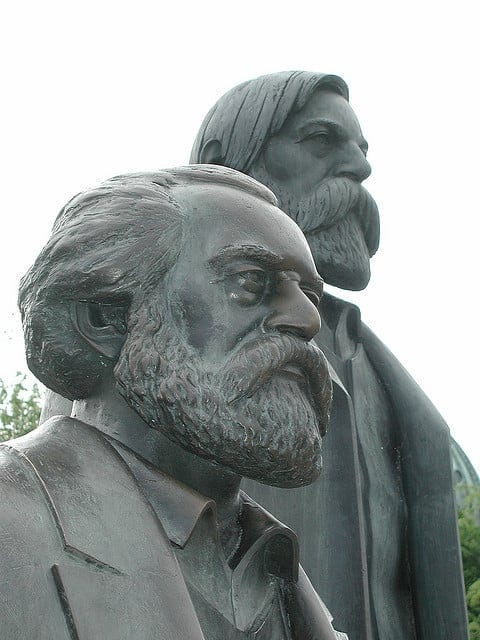 Monument to Marx and Engels in Germany. Engeles was the one who actually prompted Marx to study economics.