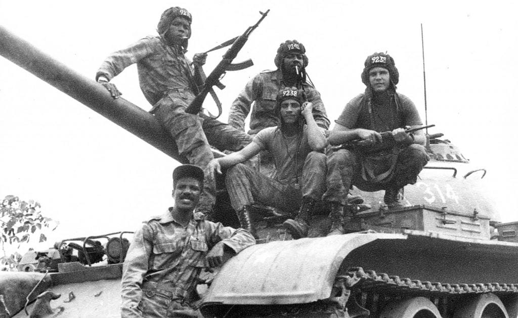 Cuban soldiers and tankers from the Camilo Cienfuegos column, fighting in Angola. The empire could never imagine that a besieged little island could have the guts to do such a heroic deed.