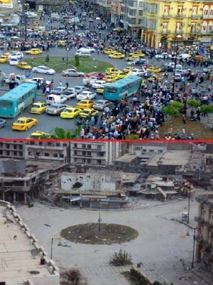 Syria's descent into chaos: Homs before and after the civil war instigated and fueled by the US and its vassal states.