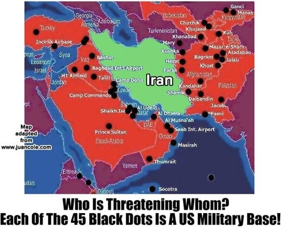 "US bases encircling Iran. These bases were there long before the latest tumult about Iran's ""nuclear ambitions"", a manufactured issue."