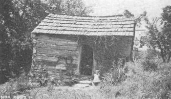 White shacrecropper shack in the Tennessee valley, 1930s. Abysmal poverty and backwardness were the rule among this class of people.