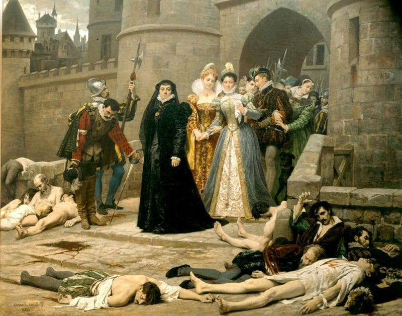 St. Bartholomew's Day Massacre: The blood of Huguenots soaked the streets of Paris. In this famous painting, Catherine de Medici surveys the result of her treachery. (Francois Dubois, Louvre)