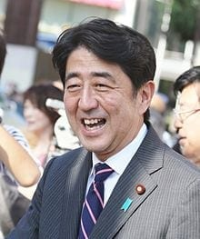 Shinzo Abe, chauvinistic and militaristic leader of Japan, and eager player in the American maneuver to encircle China. Abe stands out among the corrupt, pathetically servile politicians of postwar Japan, which is something of an accomplishment.