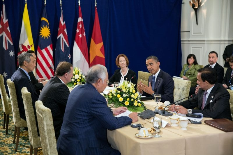 Barack Obama attends the Trans-Pacific Partnership (TPP) meeting at the ASEAN Summit at Peace Palace in Phnom Penh, Cambodia, to work out the details of his little filthy treaty.