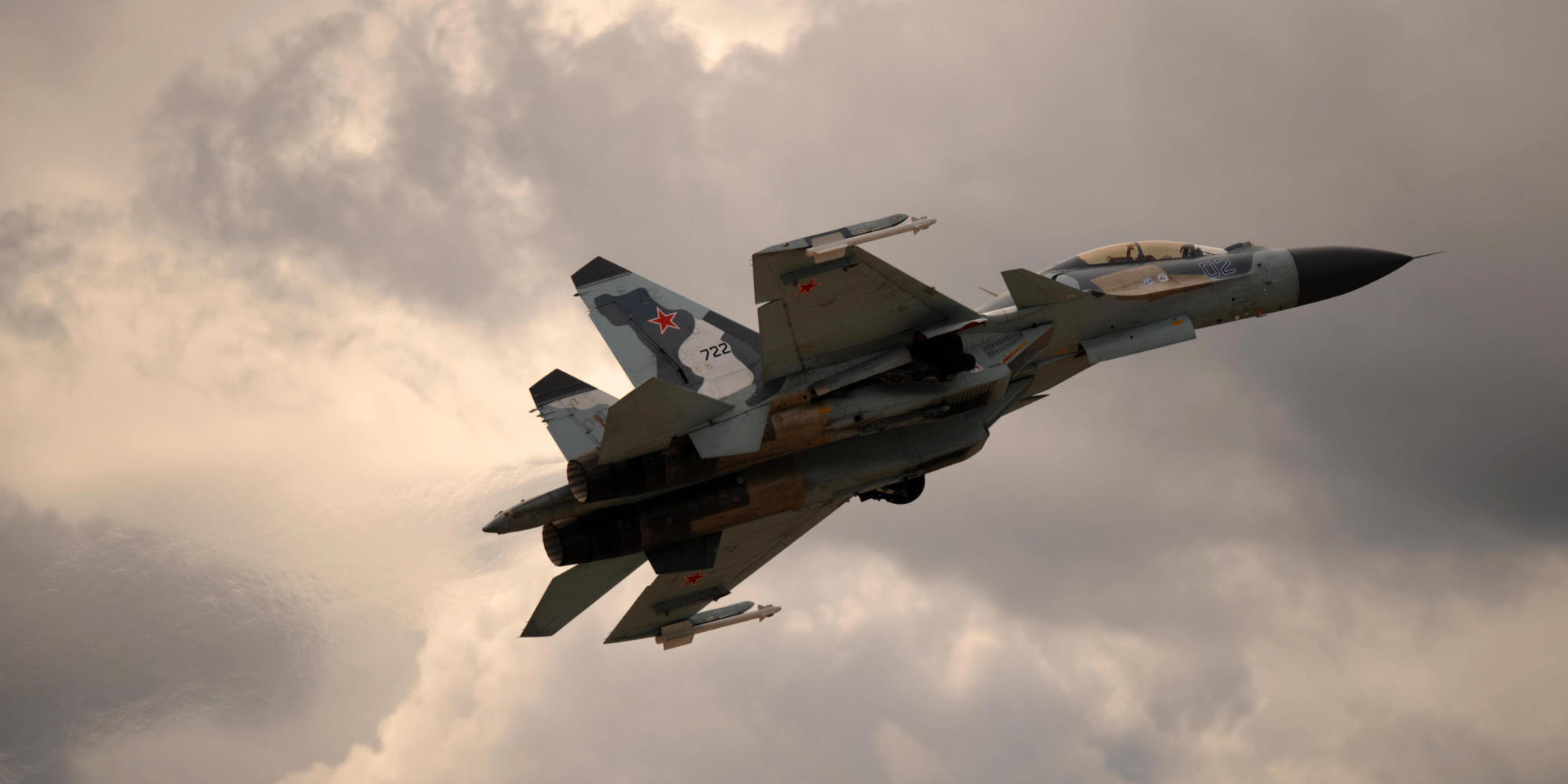 Russian Su-30 fighter on a mission in Syrian airspace.