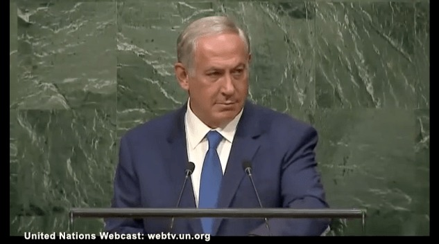 Netanyahu glaring at UNO audience. The man is nothing if not shamelessly audacious.