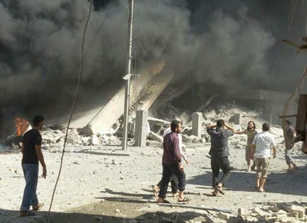 "RUSSIAN AIRSTRIKES? OR WHITE HELMET DISINFORMATION? NOTE THE INSIDIOUS CAPTION: ""This image taken in Wednesday, Sept. 30, 2015 posted on the Twitter account of Syria Civil Defence, also known as the White Helmets, a volunteer search and rescue group, shows the aftermath of an airstrike in Talbiseh, Syria. Russia on Wednesday carried out its first airstrikes in Syria in what President Vladimir Putin called a pre-emptive strike against the militants. Khaled Khoja, head of the Syrian National Council opposition group, said at the U.N. that Russian airstrikes in four areas, including Talbiseh, killed dozens of civilians, with children among the dead. (Syria Civil Defence via AP) A large number of pictures are circulating purporting to describe the ""horror"" of Russian bombing. Everybody should be cautious to accept such without proper vetting from a credible source. (See our articles on the White Helmets elsewhere on this site.)"