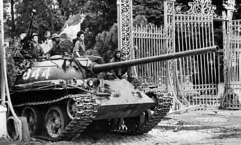 North Vietnamese tank breaks through in Saigon, as the city is liberated by the NVA. An iconic moment.