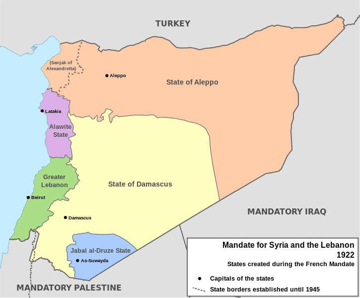 "Arbitrary colonial rule created a lot of the trouble we witness today. This is the map of the ""French mandate"" of Syria (1922)."