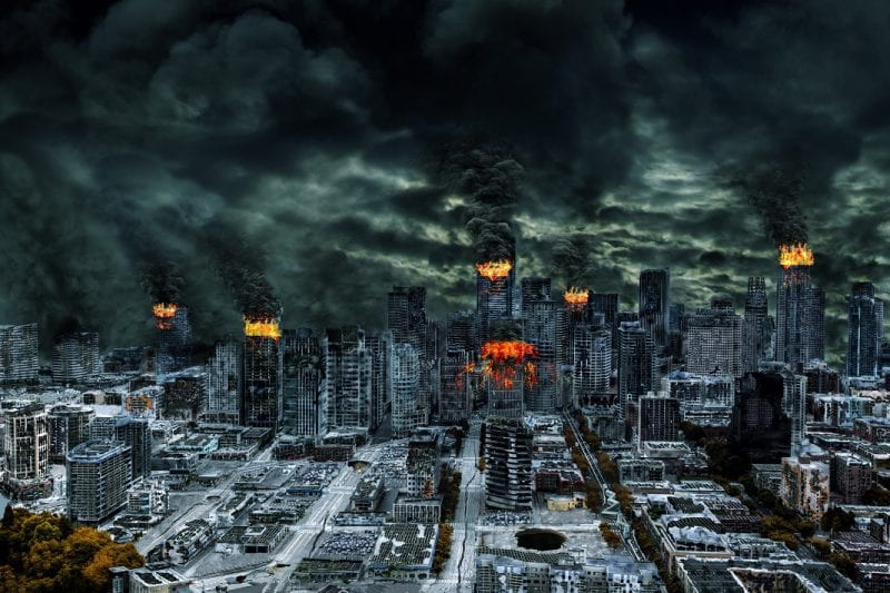 Detailed destruction of fictitious city with fires explosion sinkholes split ground train derailment. Concept of war natural disasters judgement day fire nuclear accident terrorism or meteorite fallout.