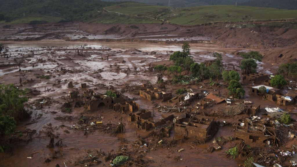 Iron ore tailing dam break in Brazil