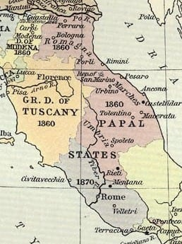 Map of Papal States to 1870