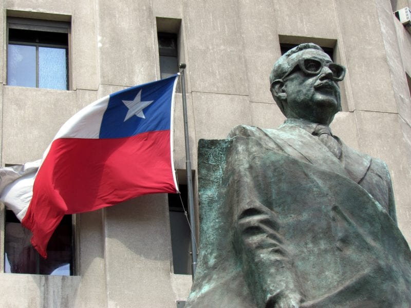 Statue commemorating Salvador Allende, president of Chile. On 9/11/1973, US-sponsored military terrorists began a right-wing coup that toppled the lawful Chilean government, and murdered their leader, drowning the country's effort to advance toward a more egalitarian society.