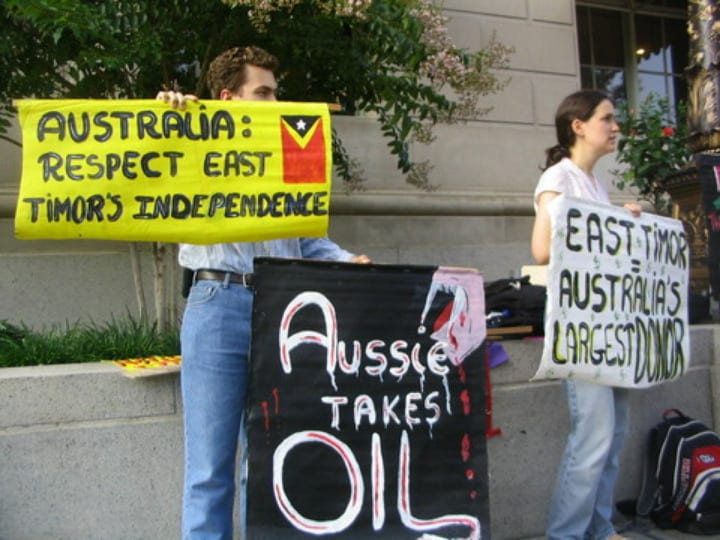 Protest urging fair consideration for East Timor. (ETAN)