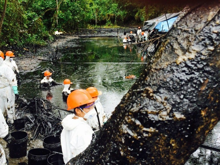 Cleaning Amazon oil spill