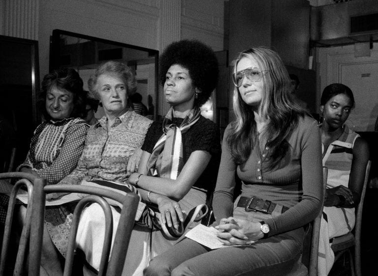 Early feminists From left: Betty Friedan, Elinor Guggenheimer, Eleanor Holmes Norton and Gloria Steinem, among the founders of the National Women's Political Caucus, in July 1971.