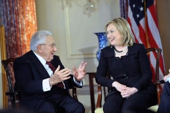 Kissinger with Hillary: Bosom buddies.