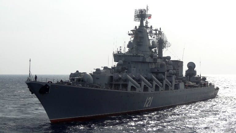 The Moskva, a missile cruiser, is patrolling the Mediterranean within striking distance of Syrian battlefields.