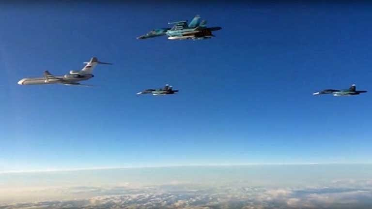 Russian planes, part of Moscow's small air group in Syria, returning home to bases in the Russian Federation's Southwest.