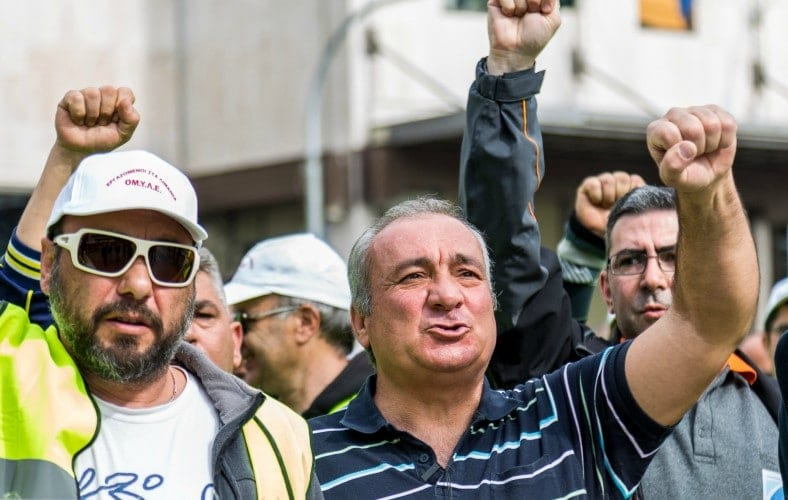 Striking Greek Dock workers fed up with Syriza's privatizations. Photo by Will Horner.