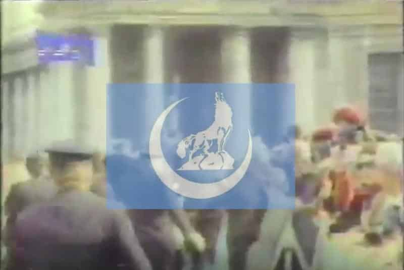 """The Flag of the """"The Grey Wolve,"""" a Turkish nationalist, rightist, organization. From video by Alexander Chopov."""