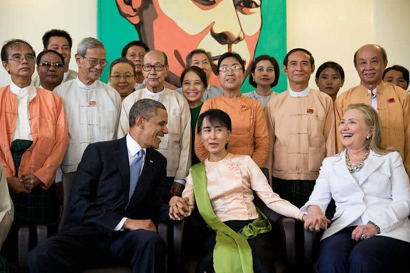 Obama and Hillary, top carriers of the Neoliberal disease, embroiling the Liberal Patsy du Jour—Burma's new leader—in the US hegemonic project.