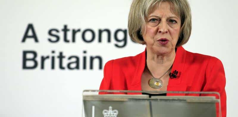 Home Secretary Theresa May delivers a speech about tackling extremism, at the RCIS, central London.