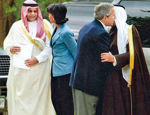 Gathering of criminals: Saudi chieftain Bandar and his American pals, GW Bush and Condi Rice. Faking great friendship with the Saudis has been a Bush/Clinton family speciality for a long time now.