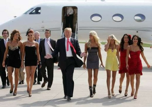 Trump's entourage. It scertainly doesn't look like his tastes and proclivities have changed.