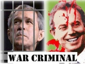 Blair and Bush, both war criminals.  And that's no hyperbole.