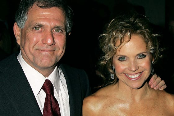 CBS top honcho Les Moonves (net worth $300MM) and Katie Couric (net worth: 60MM).