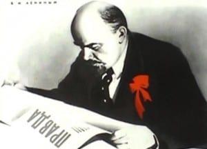 Lenin reading Pravda.