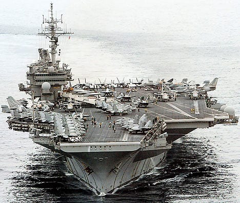 The USS Kitty Hawk—like most US Navy carriers it is designed to project power, as an offensive weapon.