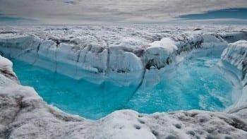 Fast melting glacier.
