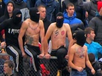 Fascist thugs showing their true colors during Kiev's disturbances.
