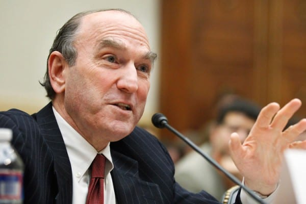 """Durable Neocon: Elliott Abrams, Senior Fellow for Middle Eastern Studies, Council on Foreign Relations , testifies on Capitol Hill in Washington, Wednesday, Feb. 9, 2011, before the House Foreign Affairs Committee hearing  on """"Recent Developments in Egypt and Lebanon: Implications for U.S. Policy and Allies in the Broader Middle East, Part 1"""" .    (AP Photo/Manuel Balce Ceneta)"""