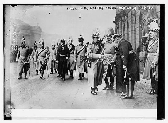 Kaiser Wilhem II saluted by high navy and army dignitaries on his birthday.