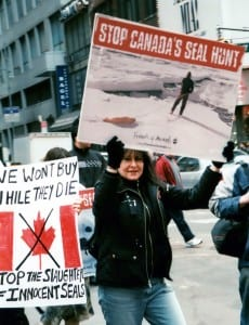 A protest against seal slaughter organized by Fiends of Animals (FoA). The organization was founded by Alice Herrington who, like most of her generation and social class, was basically clueless and indifferent about the political roots of animal exploitation. Unfortunately, the next generation has not proved a marked improvement in that regard.