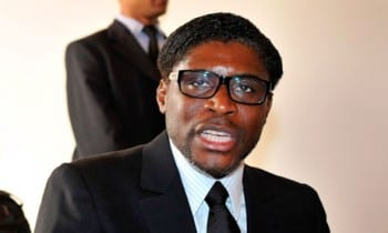 The excremental Teodorin Obiang: son of a murderous kleptocrat and Western puppet.