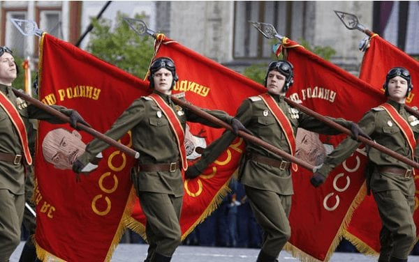 Russian tanker crews parade in victory celebration over fascism (2013).
