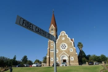 German church with racist depiction of history and Fidel Street