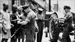Mau-Mau prisoners.  Their treatment was despicable, but the Brits had the upper hand in propaganda power. They still enjoy it, thanks to their close affiliation with the American juggernaut.