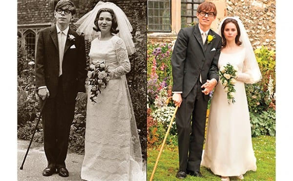 "These movies are more like ""impersonation jobs"" than real artistic interpretations of a life. In Theory of Everything publicity photo, left (real) and right (film) images demonstrate the fidelity to the original, but little more."