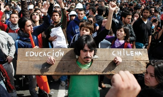 Students protest the enormous indebtedness they have to bear after graduation, and the high price of a college education.