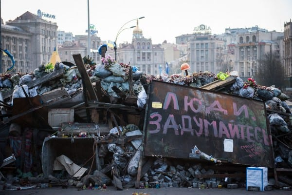 One of Euromaidan's remaining barricades.