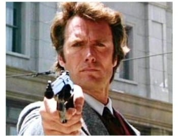 Eastwood in one of his signature roles, Dirty Harry.