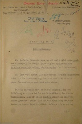 "Hitler's direct order authorizing Operation Barbarossa. Weisung Nr. 21: Fall Barbarossa (Directive no. 21: Case Barbarossa) The first paragraph reads: ""The German armed forces must be prepared to crush Soviet Russia in a rapid campaign even before the conclusion of the war against England (Case Barbarossa)."""