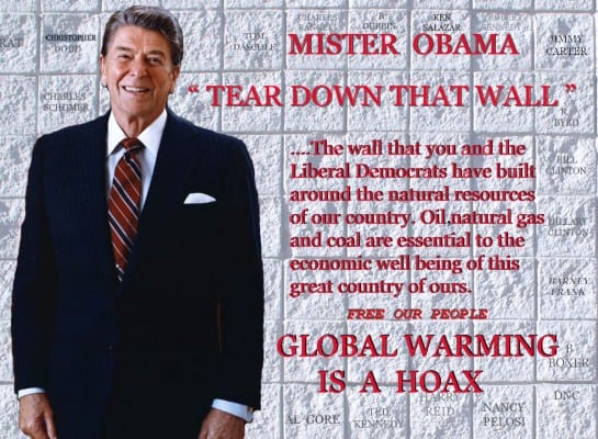 "This poster sums up the viewpoint of millions of brainwashed people around the world, especially in the US, where global warming is denounced as a hoax to ""destroy US industries.""  Global warming is seen as a nefarious maneuver by  evil liberals to weaken America.  The sheer idiocy of the fanatical free-marketers' position is almost impossible to fathom."